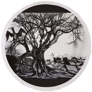 Evening In Midnapore Round Beach Towel