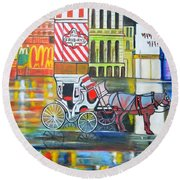 Evening In New York Round Beach Towel
