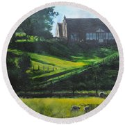 Evening In North Wales Round Beach Towel