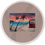 Evening In Paradise Round Beach Towel