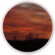 Evening In Red Round Beach Towel