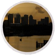 Evening In Tampa Round Beach Towel