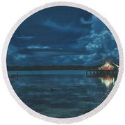 Evening In The Lagoon Round Beach Towel
