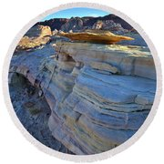 Evening In Valley Of Fire State Park Round Beach Towel