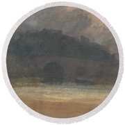 Evening Landscape With Castle And Bridge In Yorkshire Round Beach Towel