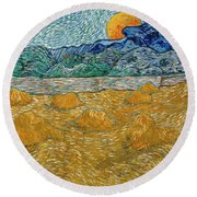 Evening Landscape With Rising Moon Round Beach Towel