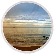 Evening Light On Shanklin Beach Round Beach Towel