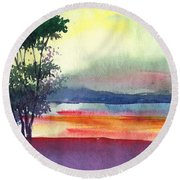 Evening Lights Round Beach Towel