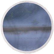 Evening Mist In Powder Blue Round Beach Towel