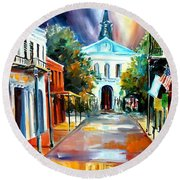 Evening On Orleans Street Round Beach Towel