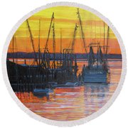 Evening On Shem Creek Round Beach Towel