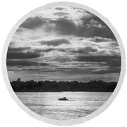 Evening On South River - Bw Round Beach Towel