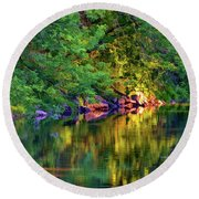 Evening On The Humber River - Paint Round Beach Towel