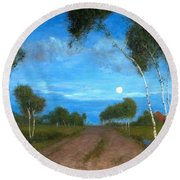 Evening On The Moor Round Beach Towel
