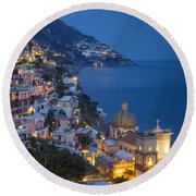 Evening Over Positano Round Beach Towel