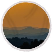 Evening Over The Adirondacks Round Beach Towel