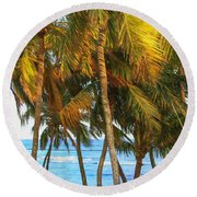Evening Palms In Trade Winds Round Beach Towel