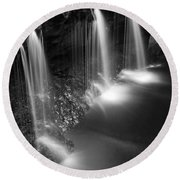 Evening Plunge Waterfall Black And White Round Beach Towel