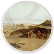 Evening Prayer In The West Round Beach Towel by Frederick Goodall