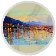 Evening Reflections In Piermont Dock Round Beach Towel