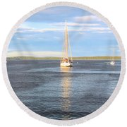 Evening Sail In Frenchman's Bay Round Beach Towel
