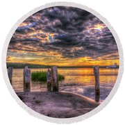 Evening Skies Round Beach Towel