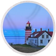 Evening Skies Of Green Round Beach Towel