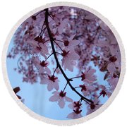 Evening Sky Pink Blossoms Art Prints Canvas Spring Baslee Troutman Round Beach Towel