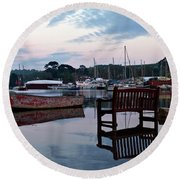 Evening Spring Tide In Mylor Bridge Round Beach Towel