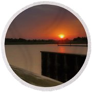 Evening Sunset In May Round Beach Towel