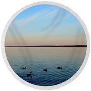 Evening Swimming Geese Three  Round Beach Towel