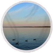 Evening Swimming Geese Two  Round Beach Towel