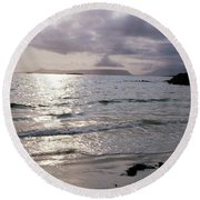 Evening The Isle Of Eigg  Inner Hebrides From The Beach At Arisaig Scotland Round Beach Towel