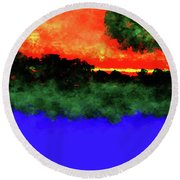 Evening Round Beach Towel