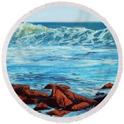 Evening Waves Round Beach Towel