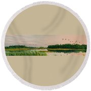 Everglades Dawn Round Beach Towel