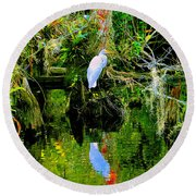 Everglades Egret Round Beach Towel
