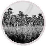 Everglades Grasses And Palm Trees 2 Round Beach Towel