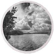 Everglades Lake - 0278abw Round Beach Towel