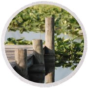 Everglades Pier Round Beach Towel