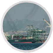 Evergreen Freight Ship And Cargo In Port Of Oakland, California Round Beach Towel