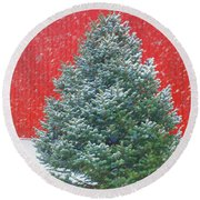 Evergreen In Winter #1 Round Beach Towel