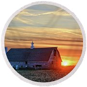 Evergreen Sunset Round Beach Towel