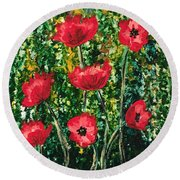 Every Dream Turns Up Poppies Round Beach Towel