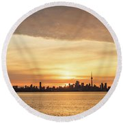 Every Morning Is Different - Toronto First Sunrays In Cyber Yellow  Round Beach Towel