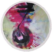 Everything A Mistake-abstract Red Painting Round Beach Towel