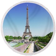Eviffel Tower With Fountains Round Beach Towel