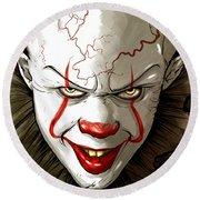 Evil Clown Round Beach Towel