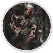 Evil Male Zombie Screaming Out In Bloody Fear Round Beach Towel