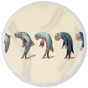 Evolution Of Fish Into Old Man, C. 1870 Round Beach Towel